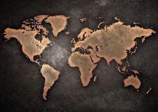 VINTAGE WORLD MAP BLACK A3 ART PRINT PHOTO POSTER GZ6172