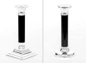 Kerzenleuchter Versilbert Schwarz 2 Größen Kerzenhalter Kerzenständer Silber