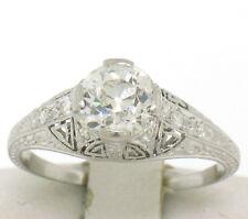 Antique Art Deco Platinum 1.30ctw GIA Diamond Etched Filigree Engagement Ring