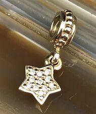 ALE PANDORA 14k Gold Bracelet Beaded Clear Stone Pave Star Dangle Charm NR PJL