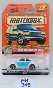 Matchbox MBX To the beach 1962 Volkswagen Beetle white #12 FNQHotwheels FM368