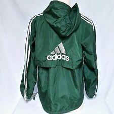 VTG Adidas Windbreaker Jacket Striped Coat Track Equipment Trefoil Hooded Large