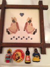 Americana Mammy Doll Folk Art Framed Silk Screen Print and Kitchen Magnets