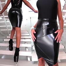 NEU 2018 LACK LEDER OPTIK LEATHER LOOK STRETCH Damen Skirt Z72 Rock SCHWARZ M