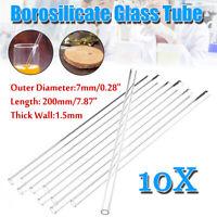 10pcs colourful borosilicate glass blowing tube sucker Ornament DIY 8*200mm #2