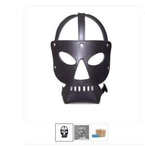 Halloween Gimp Mask Hannibal Hood Fetish Black  Leather fancy dress