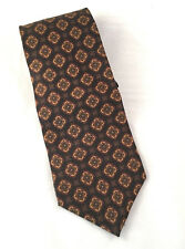 Images by Barbara Blank Mens Necktie Brown Gold Maroon Small Floral Silk Tie 61""