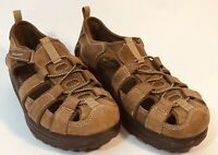 Skechers Shape Ups Leather Sandals Womens US Size 7.5 Brown Strappy Rubber Sole