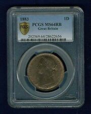 GREAT BRITAIN VICTORIA 1883  PENNY, CHOICE UNCIRCULATED, CERTIFIED PCGS MS64-RB