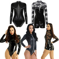 Women Sexy Lingerie Wetlook Leather Zipper Bodysuit Night Club Jumpsuit Babydoll