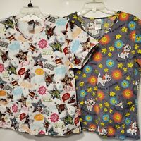 Lot of 2 Medium Scrub Tops - Marvel Superhero Disney Aristocats Pediatric Nurse