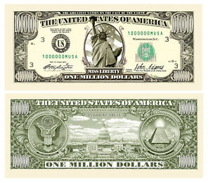 Million Dollar Statue of Liberty United States of America Money Bill with Holder