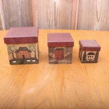 3 Vintage Nesting Boxes Colonial Houses
