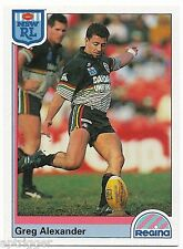 1992 NSW Rugby League REGINA Base Card (33) Greg ALEXANDER Penrith Panthers