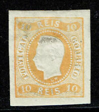 PORTUGAL D.Luis Curved Label Imperf 10 Reis Yellow Large Part OG