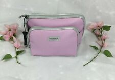 New Womens Nautica 2pc Overnight Travel Cosmetic Bag Color Pink/Silver Trap Case