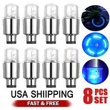 8pcs LED Wheel Tire Tyre Valve Caps Blue Neon Light for Car Motorcycle Bike New