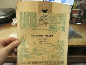 Vintage Advertising Ashland Ohio Crumrine's Texaco Gas Station Car Litter Bag
