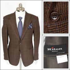 $7K NWT Mens KITON Brown Windowpane Wool Cashmere 2Btn Coat Jacket 50 40 R