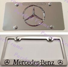 """Mercedes-Benz"" Stainless Mirror Front License Plate & Frame Combo Rust Free"