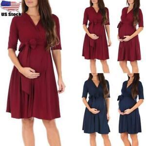 ⭐Maternity Pregnant Women's Wrap Nursing Short Sleeve Breastfeeding Mini Dress