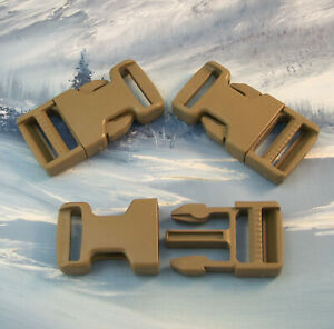 """COYOTE TAN QUICK RELEASE BUCKLE FOR 1"""" WEBBING ~ 3 PACK ~ MIL-SPEC ~ US Mfg"""