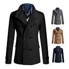 Fashion Men's Stylish Trench Coat Winter Long Jacket Double Breasted Overcoats