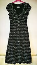 WALLIS SIZE 12 BLACK FLOATY DRESS WITH WHITE POLKA DOTS V NECK & CAP SLEEVES