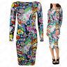 Womens Ladies Long sleeve Bang Comic Cartoon Print Bodycon Midi Stretch Dress