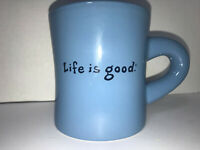 Life is Good Blue Coffee Cup Mug 'Simple Smile' Large PERFECT