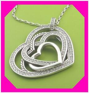 BRIGHTON BEAMING TRIPLE HEART Crystal Silver Pendant NECKLACE NWotag *