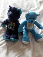 X2 Manchester City Teddy Bears Teddies Soft Toys Blue Plush man city football