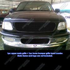 Fits 97-98 Ford F-150 4WD/Expedition Black Main Upper Billet Grille Set