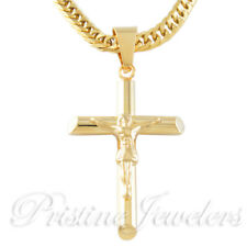 NEW Mens Stainless Steel Silver Cross Necklace Cuban Curb Chain Jesus Crucifix