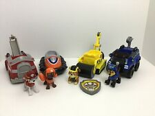 Paw Patrol Rubble Zuma Chase Marshall 9pc Lot Figures and Rescue Vehicles B3