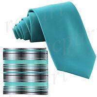 New Men/'s Poly Woven Neck Tie /& Pocket Square Hankie Set blue// Gray Navy