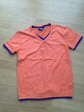 Lee Cooper Shirt ORANGE with BLUE piping 11 - 12 years Short Sleeve V neck