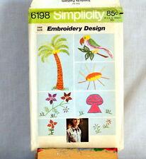 Simplicity Pattern 6198 Embroidery Design Transfers Parrot Mushroom Palm Tree