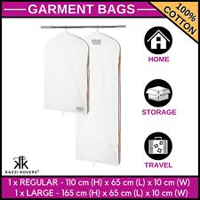 100% COTTON Garment Suit Dress Jacket Bridal Coat Clothes Cover 1xREG + 1xLARGE