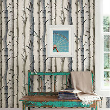 Brewster MODERN IRVIN GREY BIRCH TREE PREPASTED Wallpaper Contemporary DIY