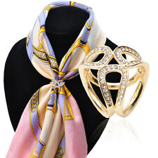 Elegant Rhinestone Scarf Ring Buckle Slide Clip Scarf Jewelry Gold