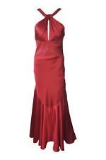 *DAVE & JOHNNY* RED SATIN HALTER NECK PROM DRESS (UK 8)