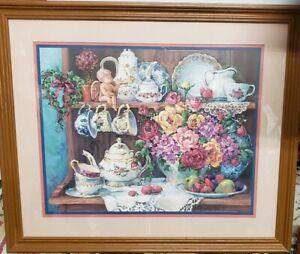 Homco Country Kitchen Framed Picture Print Barbara Mock Decor Flower Tea Floral