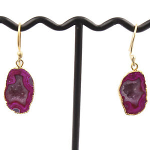 Pink Natural Geode Druzy 24k Gold Plated Fashion Engagement Gift Drop Earrings