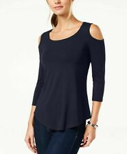 NEW JM Collection Women's Cold Shoulder Top Scoop Neck Navy Blue Size Medium