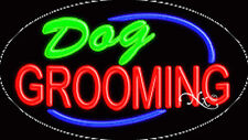 "NEW ""DOG GROOMING"" 30x17 OVAL SOLID/FLASH REAL NEON SIGN w/CUSTOM OPTIONS 14193"