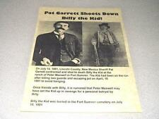 PAT GARRETT  KILLS  BILLY THE KID POSTER ON 24 LB PARCHMENT PAPER   8 1/2 x 11