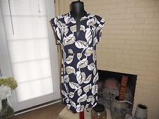 NWT J.CREW TROPICAL FROND SHIFT DRESS IN NAVY MULTI SIZE XS