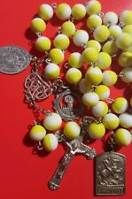 † ANTIQUE WHITE YELLOW GLASS ROSARY & MEDAL ST GEORGE, BLAISE, ANGEL