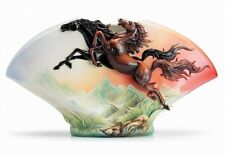 FZ02495 Galloping horses sculptured vase Franz Porcelain Exc